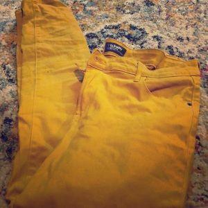 Old navy rockstar mustard yellow pants 14 skinny